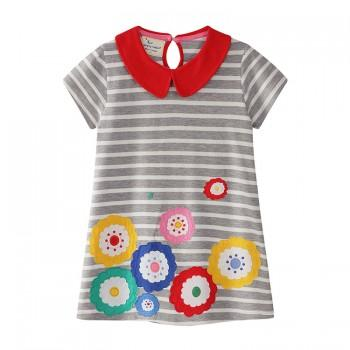Fashionable Floral Print Short-sleeve Striped Dress for Baby Girls