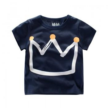 Comfy Crown Print Short-sleeve T-shirt in Sapphire for Toddler Boy and Boy