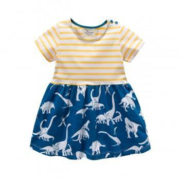 Trendy Striped Dinosaur Print Short-sleeve Dress for Baby Girl and Girl