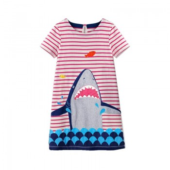 Stylish Striped Shark Decor Short-sleeve Dress in Pink for Toddler Girl and Girl
