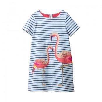 Cute Striped Flamingo Decor Short-sleeve Dress in Light Blue for Toddler Girl and Girl