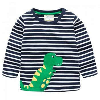 Trendy Striped Dinosaur Appliqued Long-sleeve Tee for Baby Boy and Boy