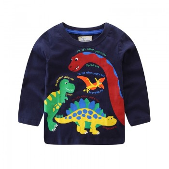 Cool Dinosaur Print Long-sleeve T-shirt for Toddler Boy