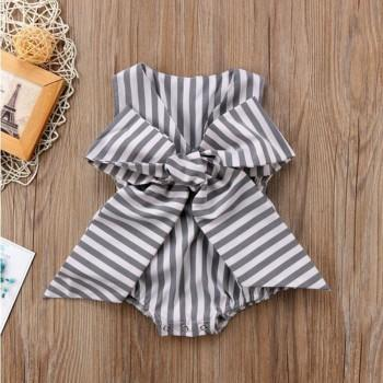 Sassy Striped Bowknot Decor Bodysuit for Baby Girl