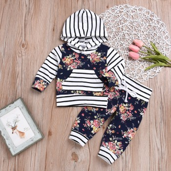 2-piece Pretty Floral Striped Hooded Top and Pants Set for Baby Girl