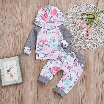 2-piece Pretty Floral Hooded Top and Pants Set for Baby Girl