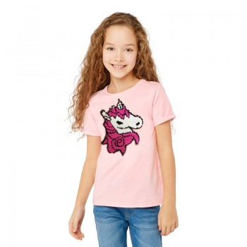 Pretty Unicorn Appliqued Short-sleeve Tee for Toddler Girl and Girl