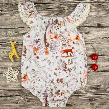 Sweet Deer Print Lace Sleeves Baby Girls Romper