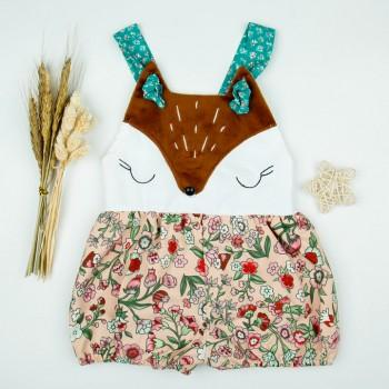 Cute Floral Fox Applique Strap Romper for Baby Girl