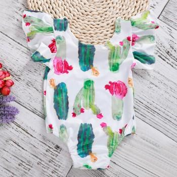 Baby Girl's Cute Flutter-sleeve Cactus Print Romper