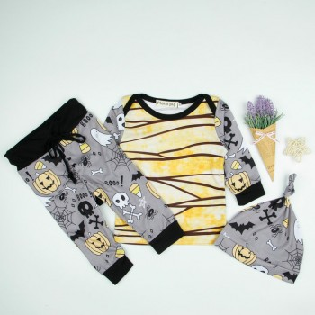 3-piece Funny Pumpkin Print Long-sleeve Halloween Set for Babies