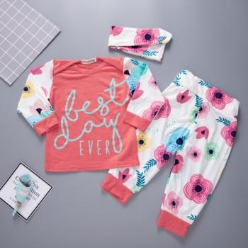 Cute Floral Long-sleeve Tee, Pants and Headband Set for Baby Girl
