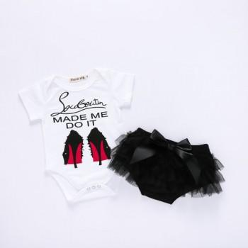Sassy Letter Print Short-sleeve Romper and Ruffled Bloomers Set for Baby Girl