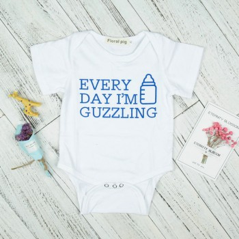 Comfy Letter Print Short-sleeve Romper in White for Baby Boy