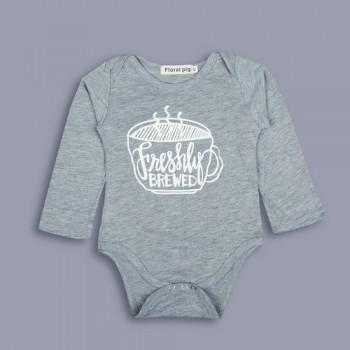 Baby's Comfy Coffee Cup Print Long-sleeve Bodysuit in Grey
