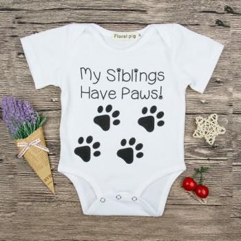 Cute Paw Print Short-sleeve Romper in White for 3-9 Months Baby