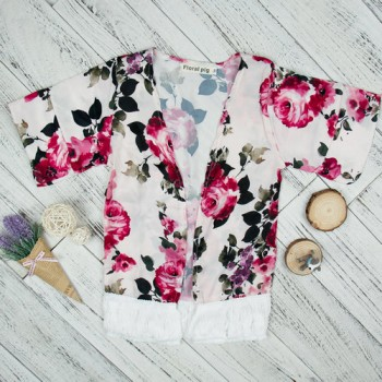 Pretty Floral Tasseled 3/4 Sleeve Cardigan for Baby Girl