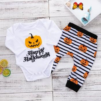 Stylish Pumpkin Print Long-sleeve Romper and Striped Pants Set for Baby