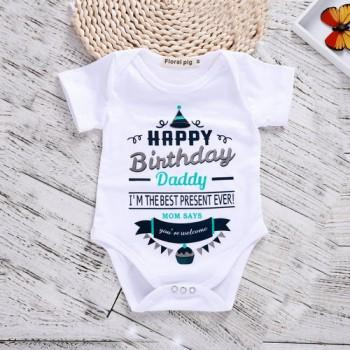 Stylish Letter Print Romper in White for Baby