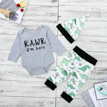 3-piece Trendy Letter Print Long-sleeve Bodysuit, Dinosaur Patterned Pants and Hat Set for Baby