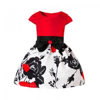 Beautiful Floral Pleated Bowknot Short-sleeve Dress for Girls
