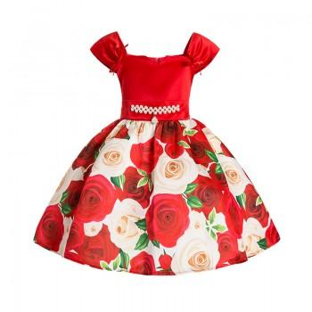 Elegant Floral Pleated Bowknot Dress for Girls