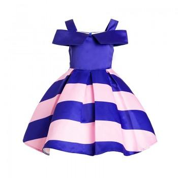 Stylish Contrast Striped Off-shoulder Pleated Dress for Girls