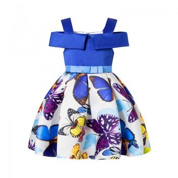 Wonderful Butterfly Pattern Back Bow Dress for Girl