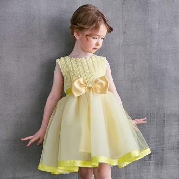 Elegant Flower Applique Sleeveless Tulle Party Dress for Toddler Girls