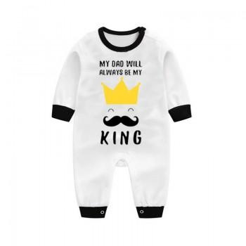 Cool Beard Print Contrast Comfy Long-sleeve Jumpsuit for Baby