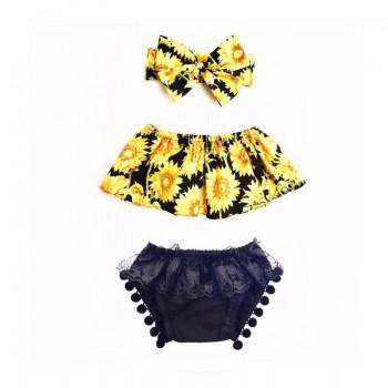 3-piece Sunflower Bodice and Headband and Lace Tassel Pantie for Baby Girl