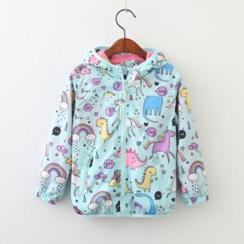 Cute Dinosaur Pattern Hooded Coat for Girls
