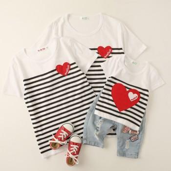 Family Stylish Striped Heart Decor Short-sleeve T-shirt in White ( no bottom )
