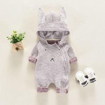 Baby's Adorable Rabbit Design Hooded Long-sleeve Jumpsuit