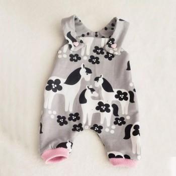 Cute Pony Print Slip Jumpsuit for Baby Girl