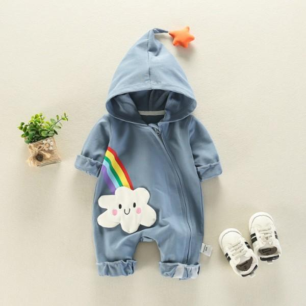 Lovely Cloud Print Hooded Long Sleeves Jumpsuit for Baby Boy