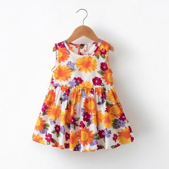 Bright Flower Print Sleeveless Dress for Baby and Toddler Girl