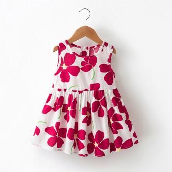 Pretty Flower Print Sleeveless Dress for Baby and Toddler Girl