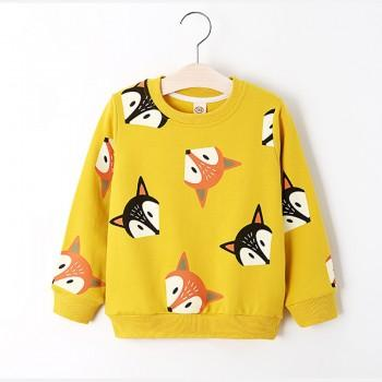 Cute Fox Printed Pullover for Toddler Girl and Girl