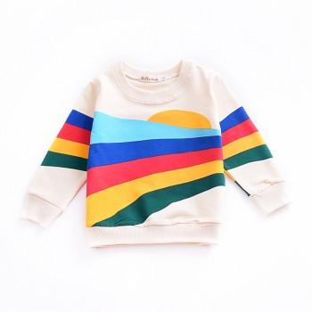 Trendy Rainbow Print Pullover for Baby and Toddler Boy