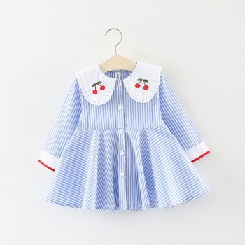 Cute Striped Cherry Embroider Long-sleeve Dress for Baby and Toddler Girl