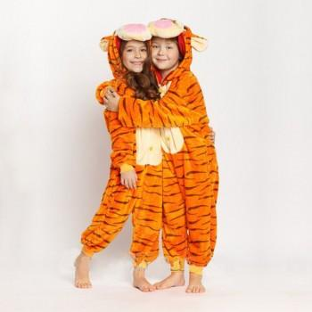 Stylish Tigger Design Hooded Onesie Pajama for Brother and Sister