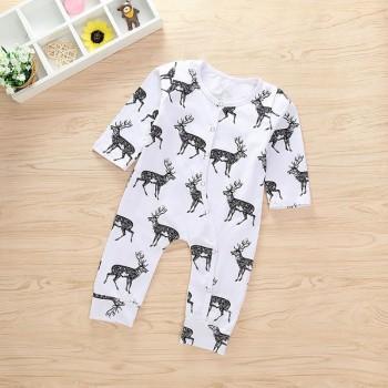 Adorable Deer Print Long-sleeve Jumpsuit for Baby