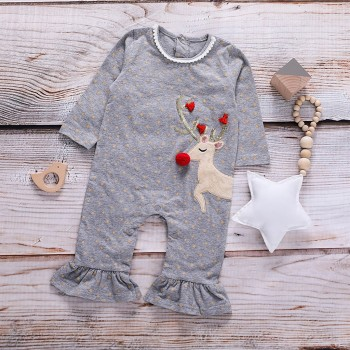 Christmas Lovely Elk Design Long-sleeve Jumpsuit for Baby