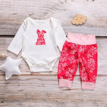 Cute Rabbit Bodysuit and Flower Printed Pants Set for Baby