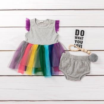 Colorful Layered Dress and Bottom Set for Baby Girl