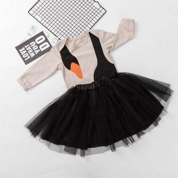 Stylish Swan Printed Long-sleeve Top and Tutu Skirt Set for Baby Girl