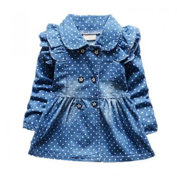 Toddler Girl's Ruffled Polka Dotted Denim Coat