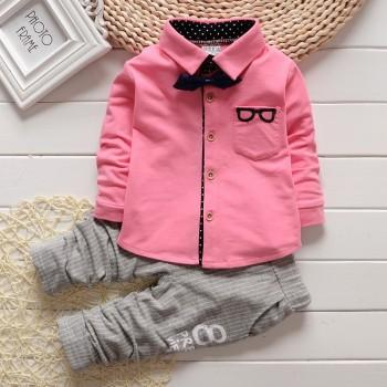 2-piece Cool Long-sleeve Shirt and Stripes Pants for Toddler Boy