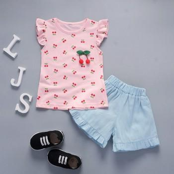2-piece Cute Flutter Sleeves Cherry Pattern Top and Solid Shorts for Baby Girl